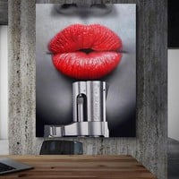 SELFLESSLY Canvas Art Prints Posters Portrait Red Lips Pictures Wall Art Painting Home Decoration For Living Room ,Bathroom