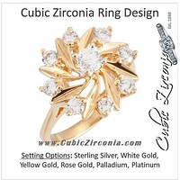 """Cubic Zirconia Engagement Ring- The Shania (0.81 CTW """"Sunflower""""-inspired 8-Stone Cluster-Style)"""