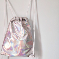 Holographic Drawstring Bag Backpack Silver Hologram Rucksack Clear Transparent Shoulder Travel Bag
