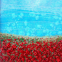 5 inch square card - Embroidered poppy landscape - Handmade card - Beaded fabric card