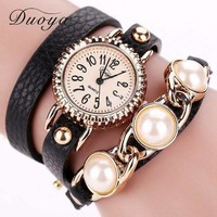 Wrap pearls strap dress black long wrap leather fashiongift for woman watch