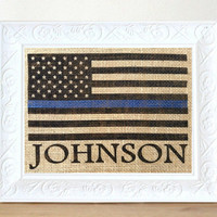Thin Blue Line Flag, Personalized Police Officer Gift, American Flag Burlap, Stars and Stripes, Retirement Gift, Policeman Gift,