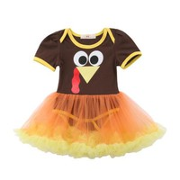 Toddler Baby Girl Thanksgiving Short Sleeve Lace Romper Dress Jumpsuit Outfit Size 1-4T