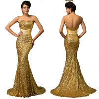 Grace Karin Retro Sequin Strapless Evening Gown with Court Train Available up to Plus Size 16W