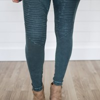 Midnight Moto Leggings - Pine