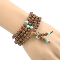 108*6MM Sandalwood Buddhist Meditation Prayer Bead Mala Necklace Pulseras Bracelet Jewelry For Women Men Jewelry