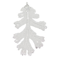 "Real Leaf Christmas ORNAMENT Lacey OAK 3"" Dipped in Sterling Silver"