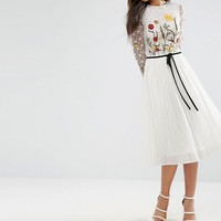 Frock And Frill Tall Premium Embroidered Floral Midi Skater Dress With Contrast Waist at asos.com