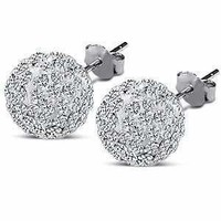 Stunning Large 10 Mm Each 6.00 Carat Total Cz Crystal Ball Beads Stud Sterlin...