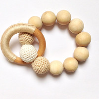 Crochet teething beads, Baby teething toy, Baby and todler toys