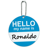 Ronaldo Hello My Name Is Round ID Card Luggage Tag