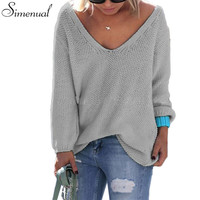 Casual new slim autumn sweater 2016 V neck loose solid 6 colors women's sweaters and pullovers knitwear jumper ladies pullover