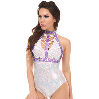 Lavender Holo Lace-Up Front Harness