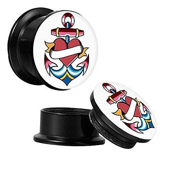 Screw Fit Plugs Anchor Heart 6G-14mm 2PC