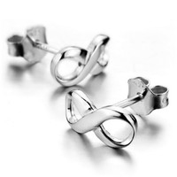Women 925 Sterling Silver Studs Earrings Infinity Symbol (with Gift Bag):Amazon:Jewelry