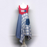 Festival Clothing, Red White and Blue Bohemian Dress, Boho Chic Dress for 4th of July, Sustainable Clothing, Upcycled Clothing for Women