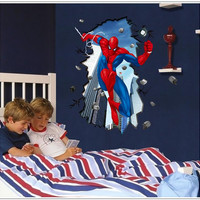 3d Spiderman through wall stickers for kids rooms mural poster boy's room decor fashion removable wall stickers bedroom decals
