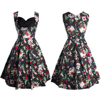 Vintage Wrapped Chest Floral Printing A-line Dress