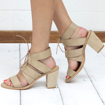 Very Volatile: Dim Lace Up Strappy Suede Heel Sandal {Natural} - Size 7