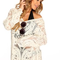 Cream Long Sleeves Mesh Embroider Summer Short Casual Top