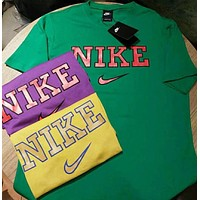 Nike Summer Colorful Women Men Tee Shirt B-YF-MLBKS Green
