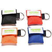 New CPR Mask Keychain Bag Safty Emergency Face Shield First Aid Rescue Bag LS