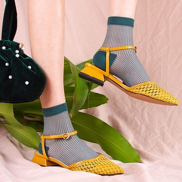 Mori Sheer Striped Sock | Rain Forest Green