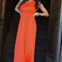 Fit For Perfection Maxi Dress: Coral/Orange   Hope's