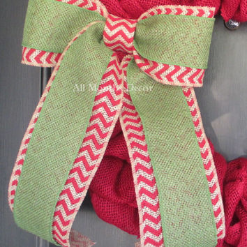 Green over Red Chevron Burlap Bow