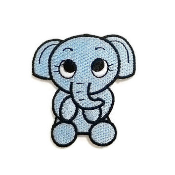 Blue Cute Baby Elephant Cartoon New Iron On Patch Embroidered Applique Size 5.7cm.x6cm.