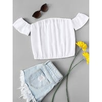Off Shoulder Crop Top White