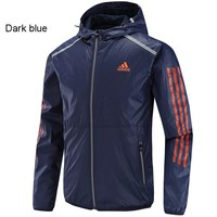 ADIDAS autumn and winter new windproof hooded jacket woven jacket dark blue