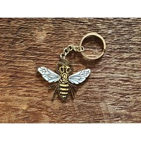 Honey Bee Enamel Keychain