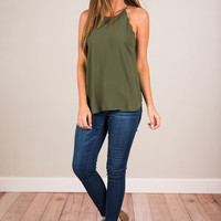 Love Letter Tank, Forest Green