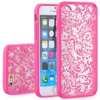 """iPhone 6 Case - VENA [TACT ARMOR] Shock Absorbent Slim Hybrid Quill Pattern Cover for Apple iPhone 6 (4.7"""") - Pink"""