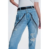 Vintage Ripped Straight Jeans With Studs And Chains