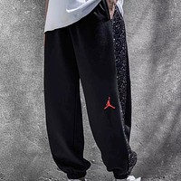 NIKE Air Jordan IV 4 Bred New fashion people print couple pants Black