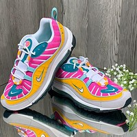 Nike Air Max 98 Women's Matte Smoky Purple Bullet Cushion Running Shoes Colorful Yellow Pink