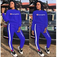 Champion Fashion Women Popular Casual Long Sleeve Set Two-Piece Sportswear Sapphire Blue