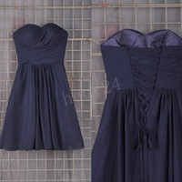 Navy Blue Short Bridesmaid Dresses, Simple Short Prom Dress, Party Dresses, Evening Dresses, Wedding Party Dresses, Bridesmaid Dresses