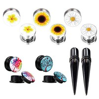 Gauges Kit Plugs Tapers Ear Stretch Double Flare Screw Fit Acrylic Steel 14mm Piercing 12PC