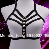 new  Free Shipping Three Row O-Ring Harness - Body Cage Bondage harness bra