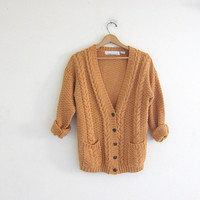 vintage mustard yellow ochre sweater. slouchy cardigan sweater. pocket cardigan sweater. cable knit sweater.
