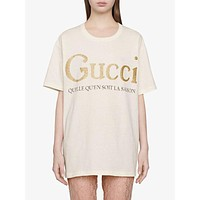 Gucci new couple gold powder printed short sleeve T-shirt