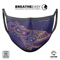 Colorful Sacred Elephant - Made in USA Mouth Cover Unisex Anti-Dust Cotton Blend Reusable & Washable Face Mask with Adjustable Sizing for Adult or Child