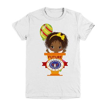 African American Curly Hair Girl Birthday T Shirt Future President