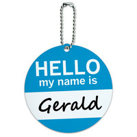 Gerald Hello My Name Is Round ID Card Luggage Tag