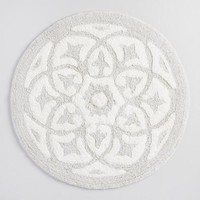 Gray Round Medallion Tufted Bath Mat