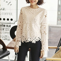Long Sleeve Hollow Flower Shirt
