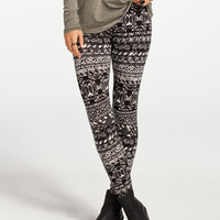 Full Tilt Linear Medallion Print Womens Leggings Black/Khaki  In Sizes